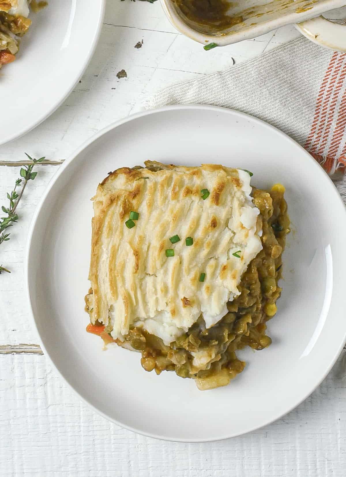 Vegan shepherd's pie on plate.