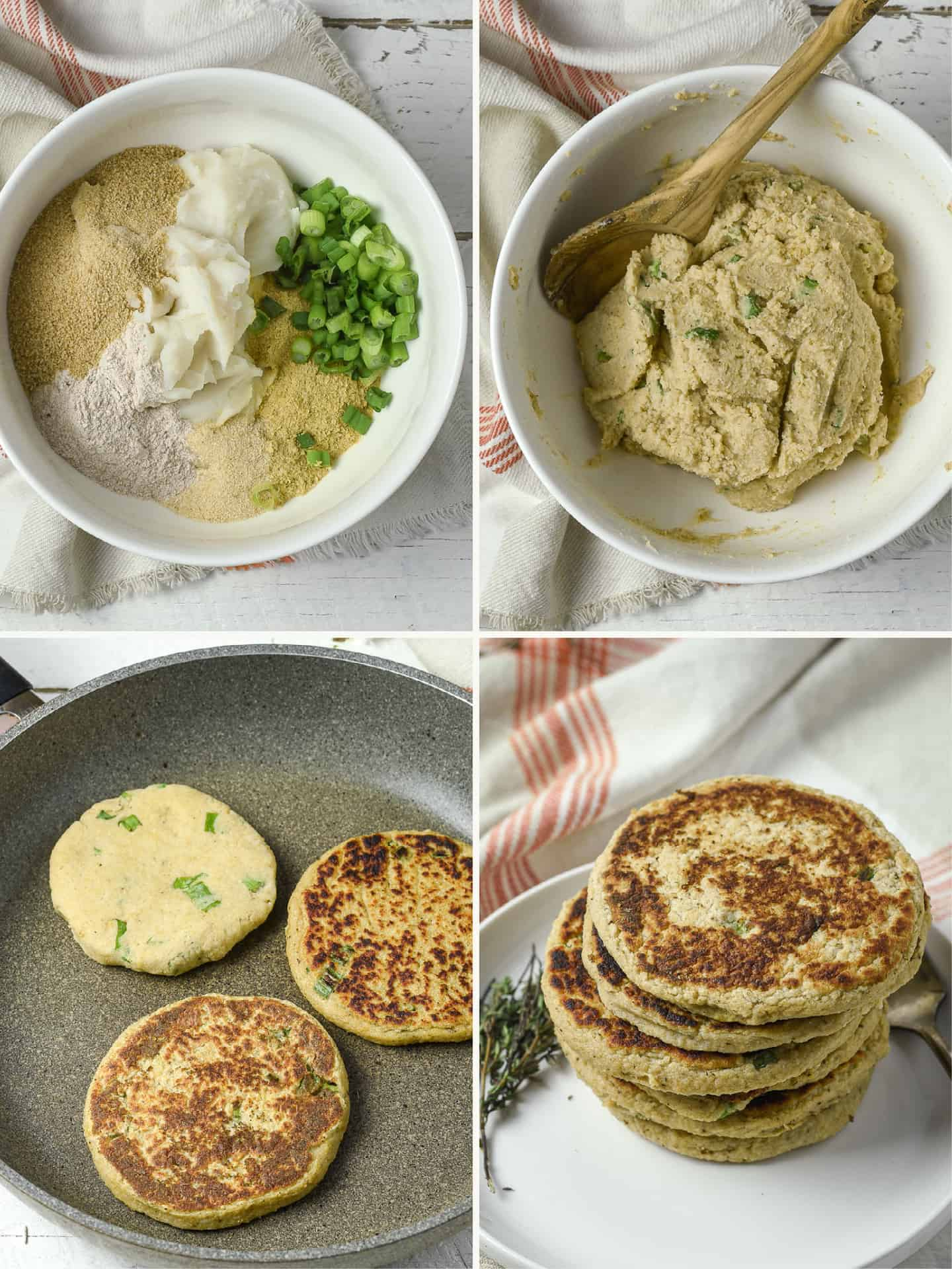 Four images of pancakes.