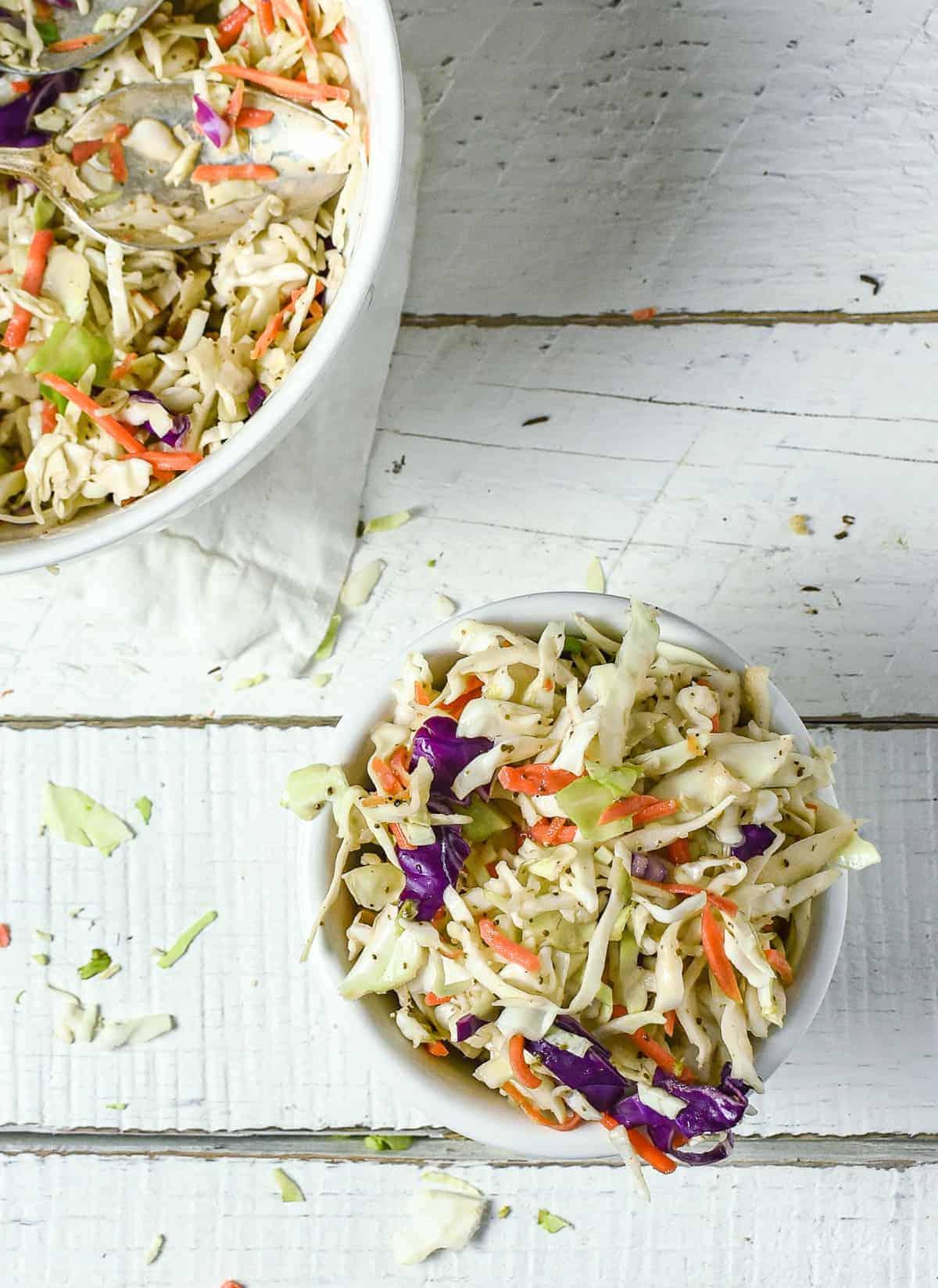 Vinegar coleslaw in bowl.