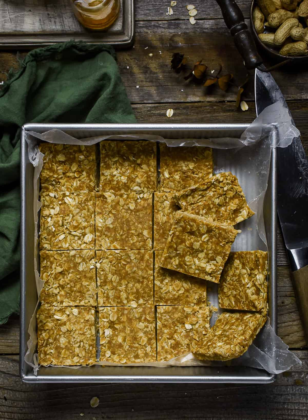 Peanut butter oatmeal squares in baking dish.