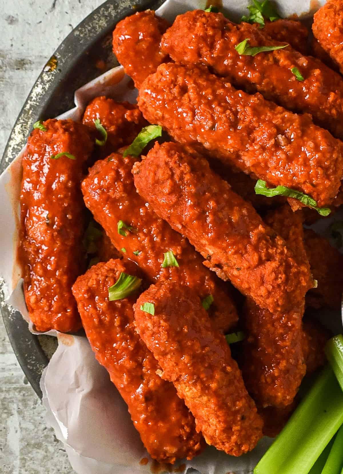 crispy baked buffalo tofu wings