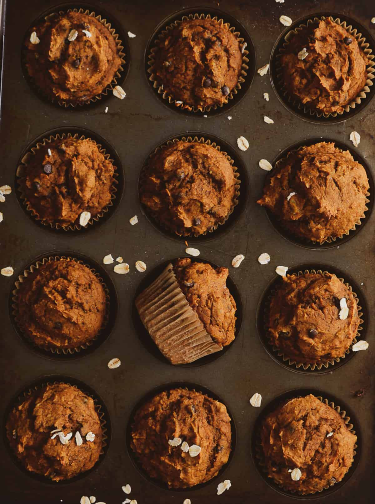 Muffins in baking tray.